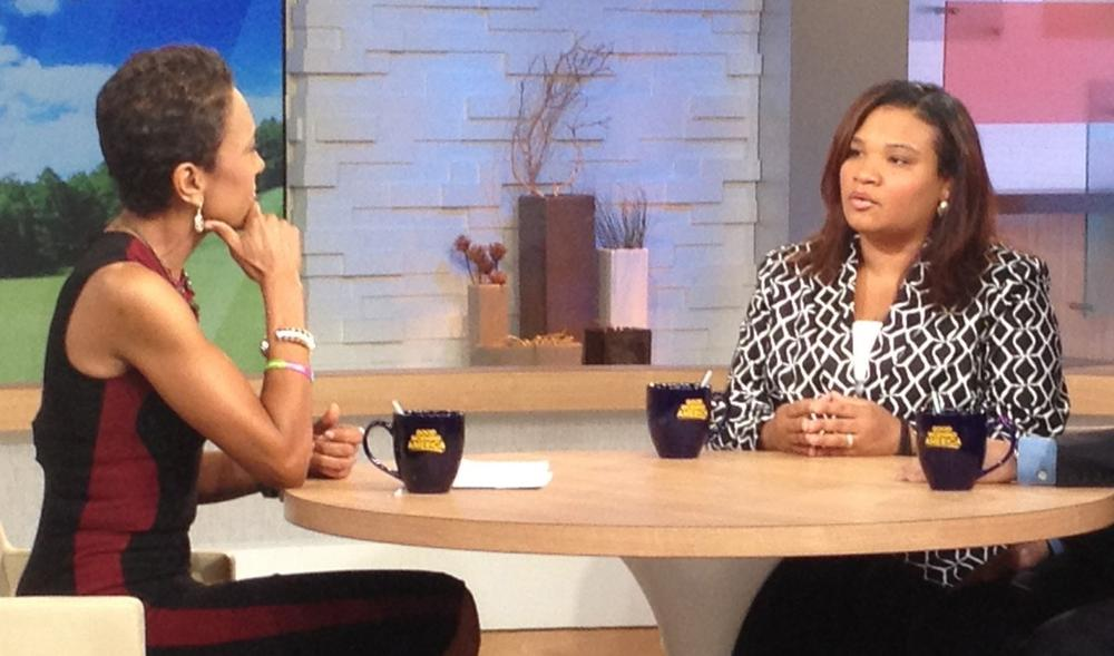 """ABC host Robin Roberts, left, interviews Juror B29 from the George Zimmerman trial on """"Good Morning America,"""" in New York on Thursday, July 25, 2013. Portions of Roberts' interview with the only minority juror from the Zimmerman trial, aired on """"World News Tonight with Diane Sawyer,"""" and """"Nightline"""" on Thursday and the full interview aired on """"Good Morning America,"""" on Friday. (Donna Svennevik/ABC via AP)"""