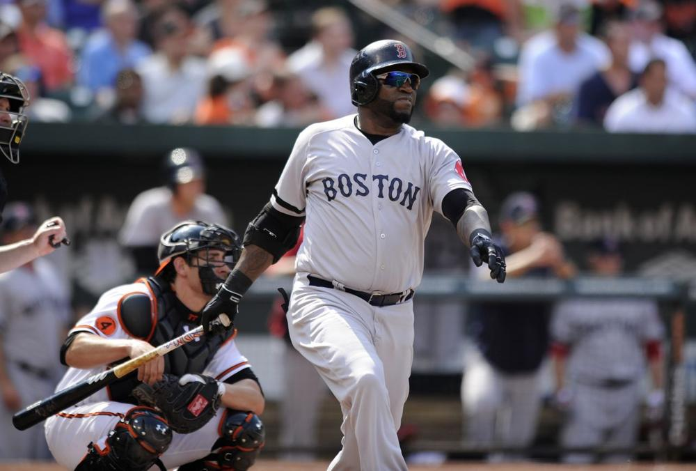Boston Red Sox designated hitter David Ortiz follows through his single during the eighth inning of a baseball game against the Baltimore Orioles, in Baltimore. The Red Sox won 5-0. (AP/Nick Wass)
