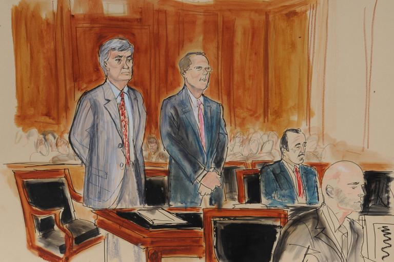 In this courtroom sketch by Elizabeth Williams, Attorney Marty Klotz, left, General Council for SAC Capital Advisors LP, Peter Nussbaum, center, attorney Ted Wells, right, and assistant US attorney Arlo Devlin Brown, foreground, appear before judge Laura Taylor Swain, Friday, July 26, 2013, in New York. (Elizabeth Williams/AP)