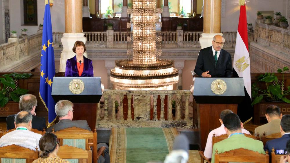 This image released by the Egyptian Presidency shows interim Vice President Mohamed ElBaradei, right, making remarks at a joint news conference with EU foreign policy chief Catherine Ashton, left, at the presidential palace in Cairo, Egypt, Tuesday, July 30, 2013. (Egyptian Presidency via AP)