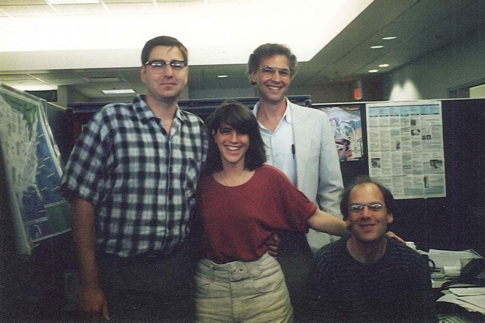 The original <em>Only A Game</em> crew. From left, current Senior Producer Gary Waleik, former technical director Jennifer Loeb, Bill Littlefield, and our first senior producer David Greene.