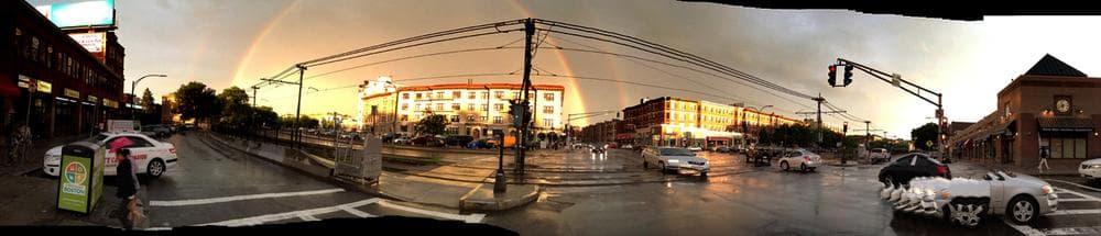 Double Rainbow over Allston. (Jesse Costa/WBUR)