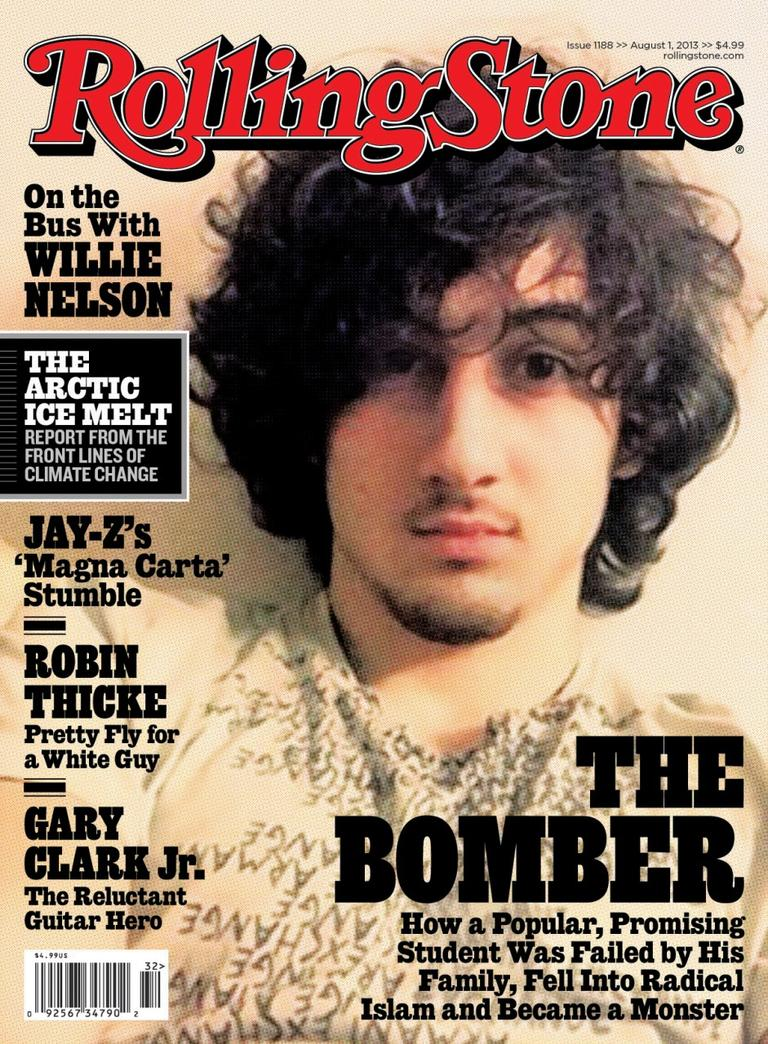 """In this magazine cover image released by Wenner Media, Boston Marathon bombing suspect Dzhokhar Tsarnaev appears on the cover of the Aug. 1, 2013 issue of """"Rolling Stone."""" (AP)"""