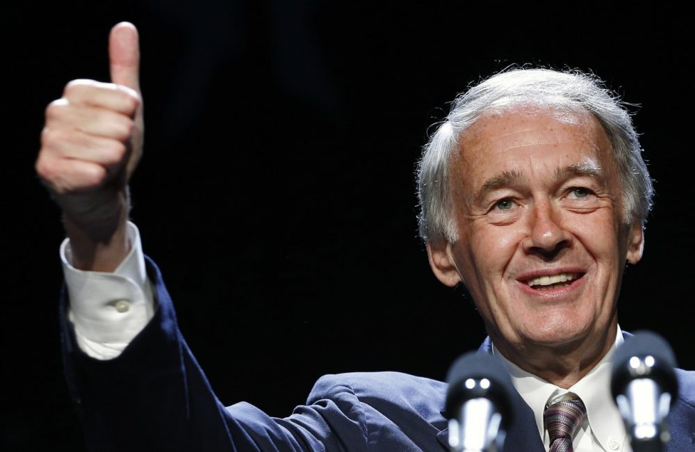 Senator-elect Ed Markey gives a thumbs-up while speaking at the Massachusetts state Democratic Convention in Lowell, Mass., Saturday, July 13, 2013. (AP)