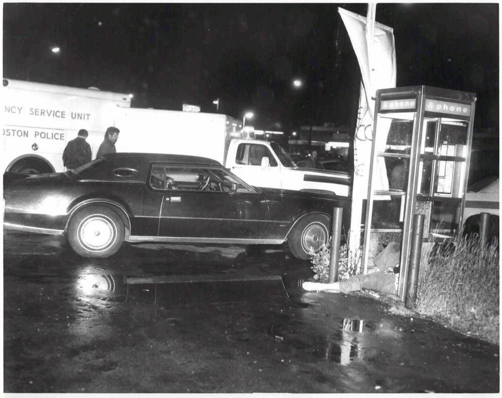 A crime scene where Edward Connors, one of Bulger's alleged victims, was shot to death in a telephone booth on June 12, 1975. (AP/U.S. Attorney's Office)
