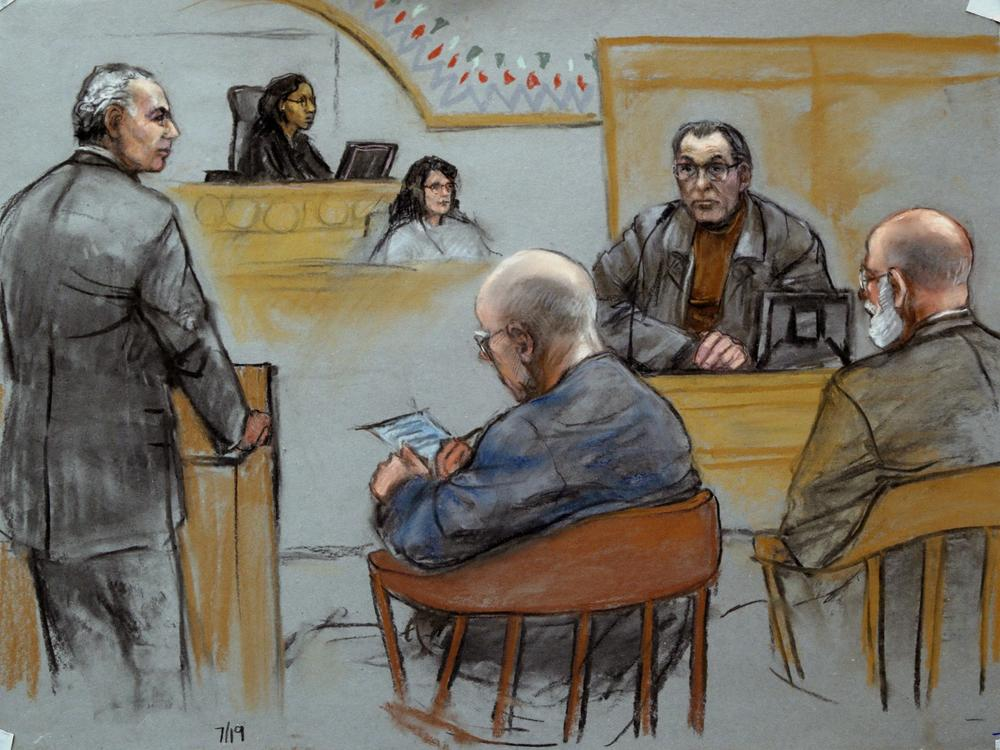 "This courtroom sketch depicts Stephen ""The Rifleman"" Flemmi, upper right, on the witness stand as defendant James ""Whitey"" Bulger listens, seated middle, next to his defense attorney J. W. Carney Jr., seated far right, while prosecutor Fred Wyshak, standing left, questions Flemmi during Bulger's racketeering and murder trial at U.S. District Court in Boston, Friday, July 19, 2013. Flemmi, who was once Bulger's loyal partner, has recounted multiple killings he says Bulger was involved in, either as a triggerman or a driving force. (AP)"