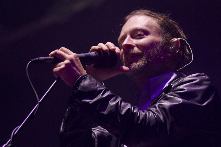 Thom Yorke of Radiohead performs during the Bonnaroo Music and Arts Festival in Manchester, Tenn., Friday, June 8, 2012. (AP)