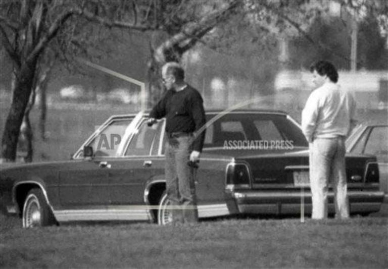 """An undated FBI surveillance photo shows James """"Whitey"""" Bulger (left) with Kevin Weeks, whose testimony in court today sparked a dramatic outburst from Bulger. (AP file photo)"""