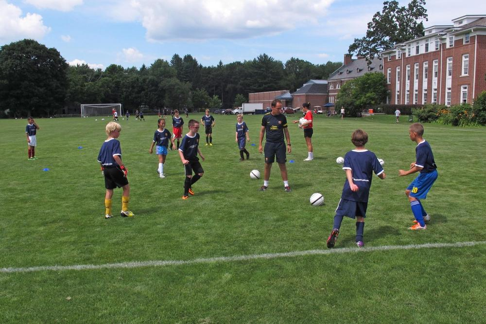 FC Barcelona hosted a youth soccer camp at the Middlesex School in Concord, Mass. (Bill Littlefield/Only A Game)