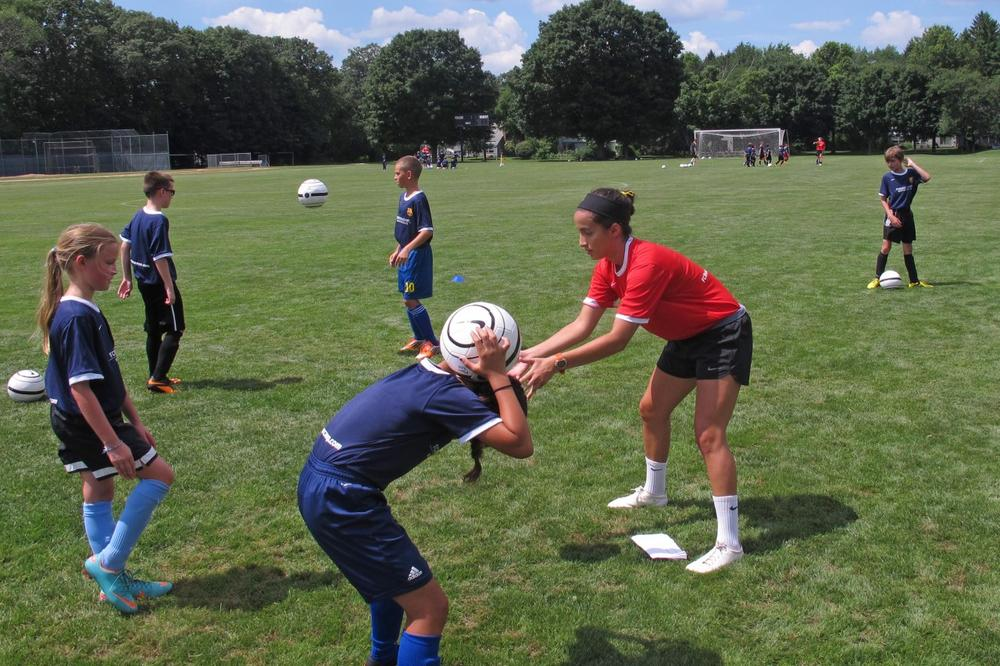 Coach Samantha Vilaboa emphasizes ball control … no matter where the ball is. (Bill Littlefield/Only A Game)