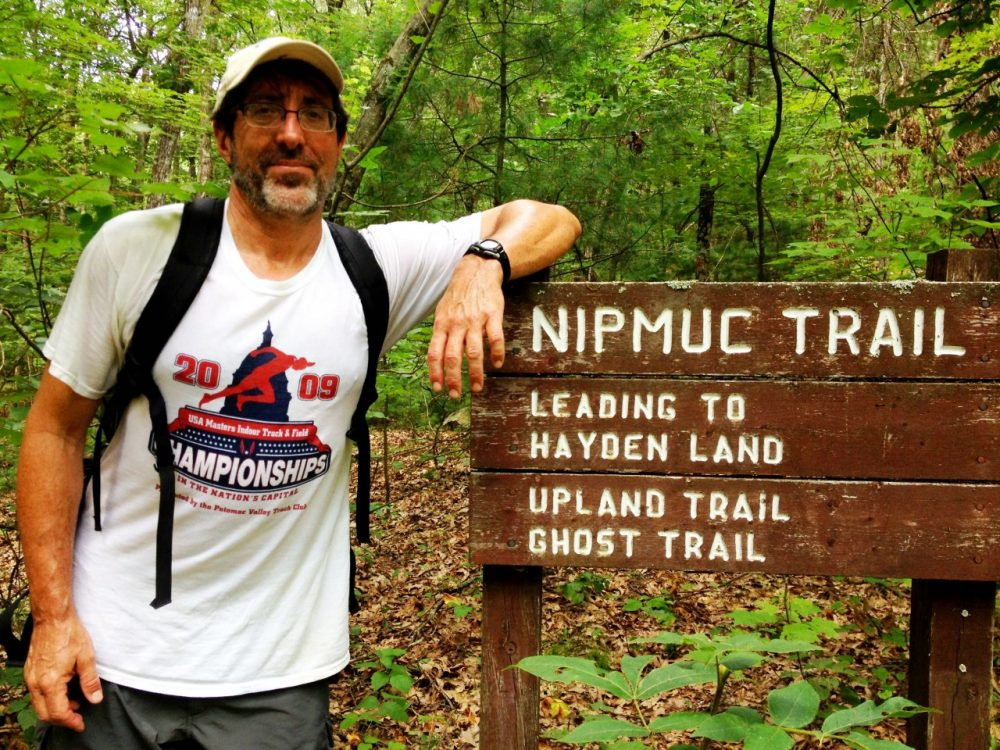 """John Huth, author of """"The Lost Art of Finding Our Way,"""" at Nobscot Scout Reservation in Sudbury. (Meghna Chakrabarti/WBUR)"""