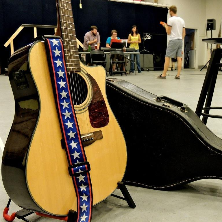 """The cast and musicians rehearse """"Rooms"""" at the Calderwood Pavilion.  (Kevin Hadfield/Bad Habit Productions)"""