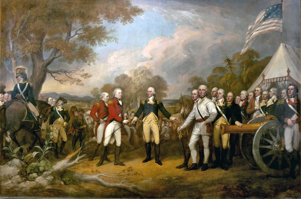 The scene of the surrender of the British General John Burgoyne at Saratoga, on October 17, 1777, was a turning point in the American Revolutionary War that prevented the British from dividing New England from the rest of the colonies. (John Trumbull)
