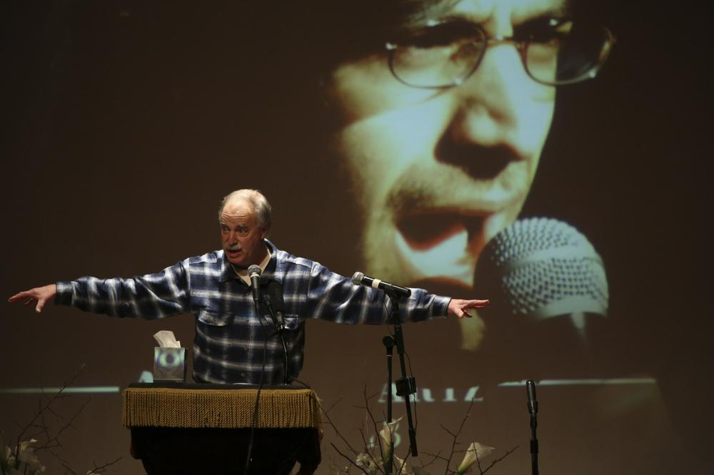 David Isenberg, founder of Freedom to Connect speaks during the memorial service for Aaron Swartz in January in New York. (AP/Mary Altaffer)