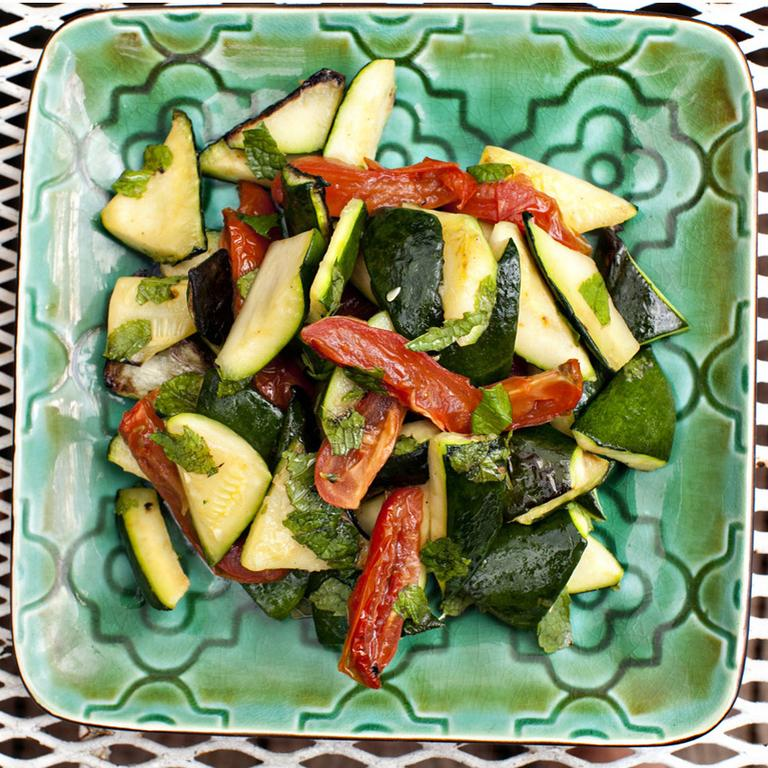 Zucchini with Dried Tomatoes and Mint (WBUR/Jesse Costa)