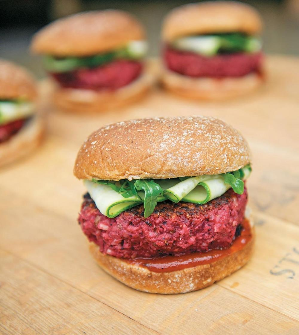 This might resemble a beef burger, but it's actually a completely vegan beet burger.