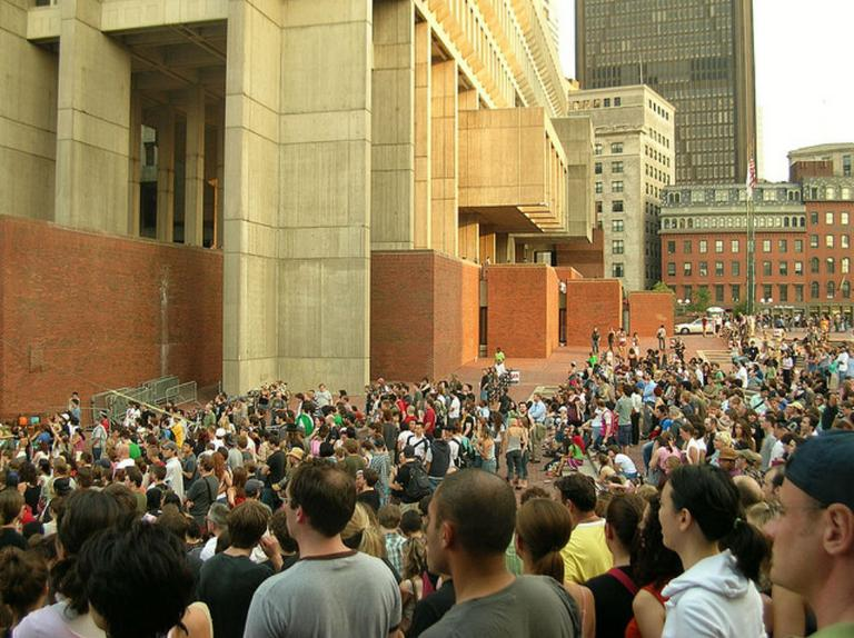 Boston City Hall plaza has been host to many a concert. Beginning Saturday, July 13, the plaza will be transformed into one of several public venues hosting the first annual Outside the Box performing arts festival. (Flickr/sushiesque)