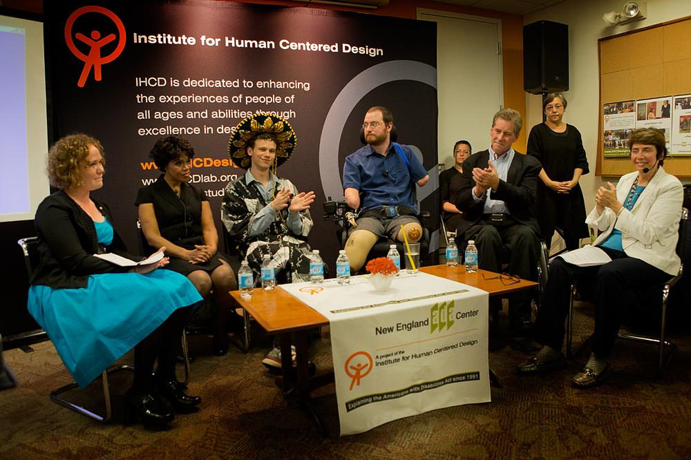 """(Beginning 2nd from left) Veronica Blackwell, Jack Hanke, Will Lautzenheiser and Joe Genera made up the """"Laugh And Learn: Comedians With Disabilities"""" panel at the Institute for Human Centered Design. (Jesse Costa/WBUR)"""