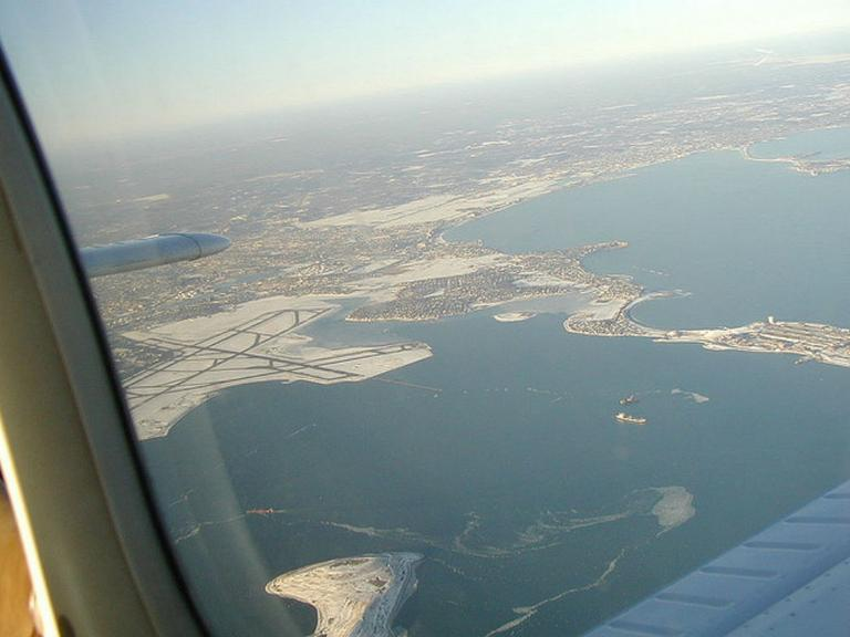 The approach to Boston's Logan International Airport as seen from from the air. (Larry Strong/Flickr)