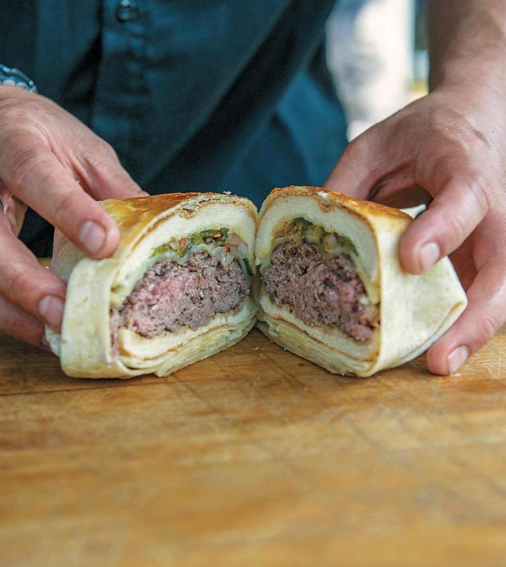 This burger wrapped in a tortilla is even better than it looks.