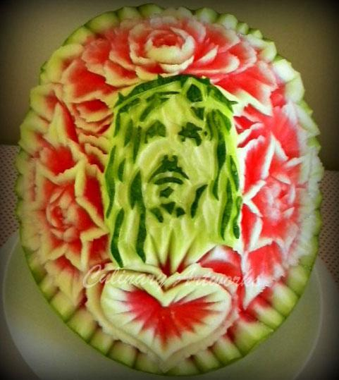 A watermelon becomes a portrait of Jesus. (Courtesy of Ruben Arroco)