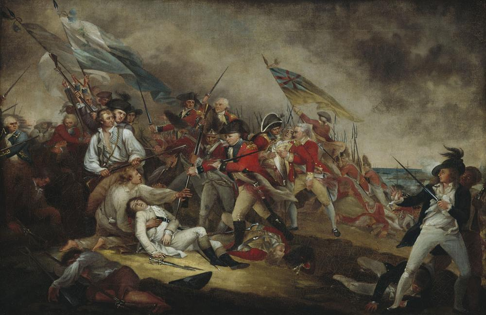 "John Trumbull's painting ""The Death of General Warren at the Battle of Bunker's Hill, 17 June, 1775,"" from between 1815 and 1831. (© Museum of Fine Arts, Boston)"