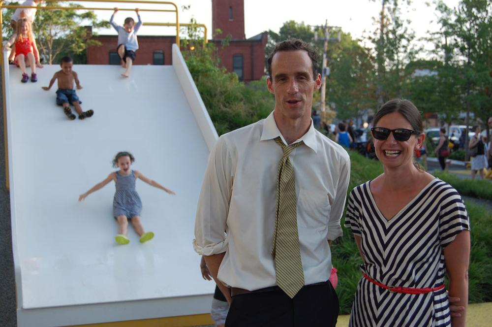 Wilson Martin and Eden Dutcher of GroundView designed the new playground. (Greg Cook/WBUR)