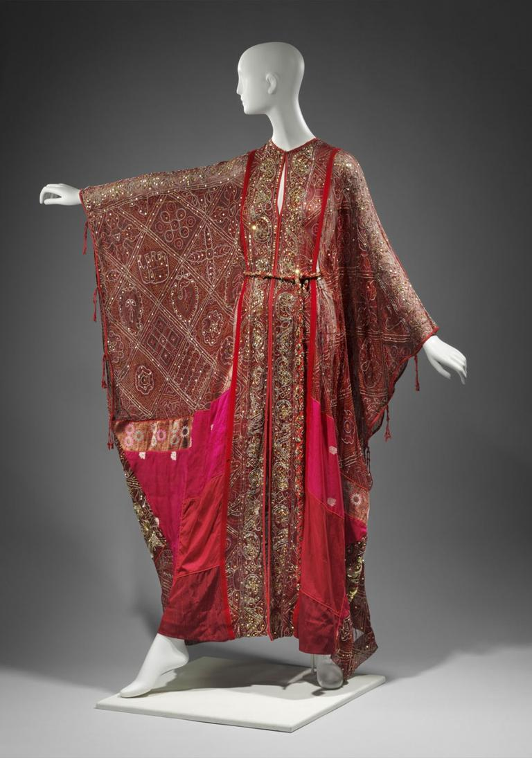Thea Porter's 1969 chiffon, silk and sequined woman's caftan—traditional Middle Eastern garb newly incorporated into Western fashion in the 1960s. (Courtesy of the Museum of Fine Arts, Boston)