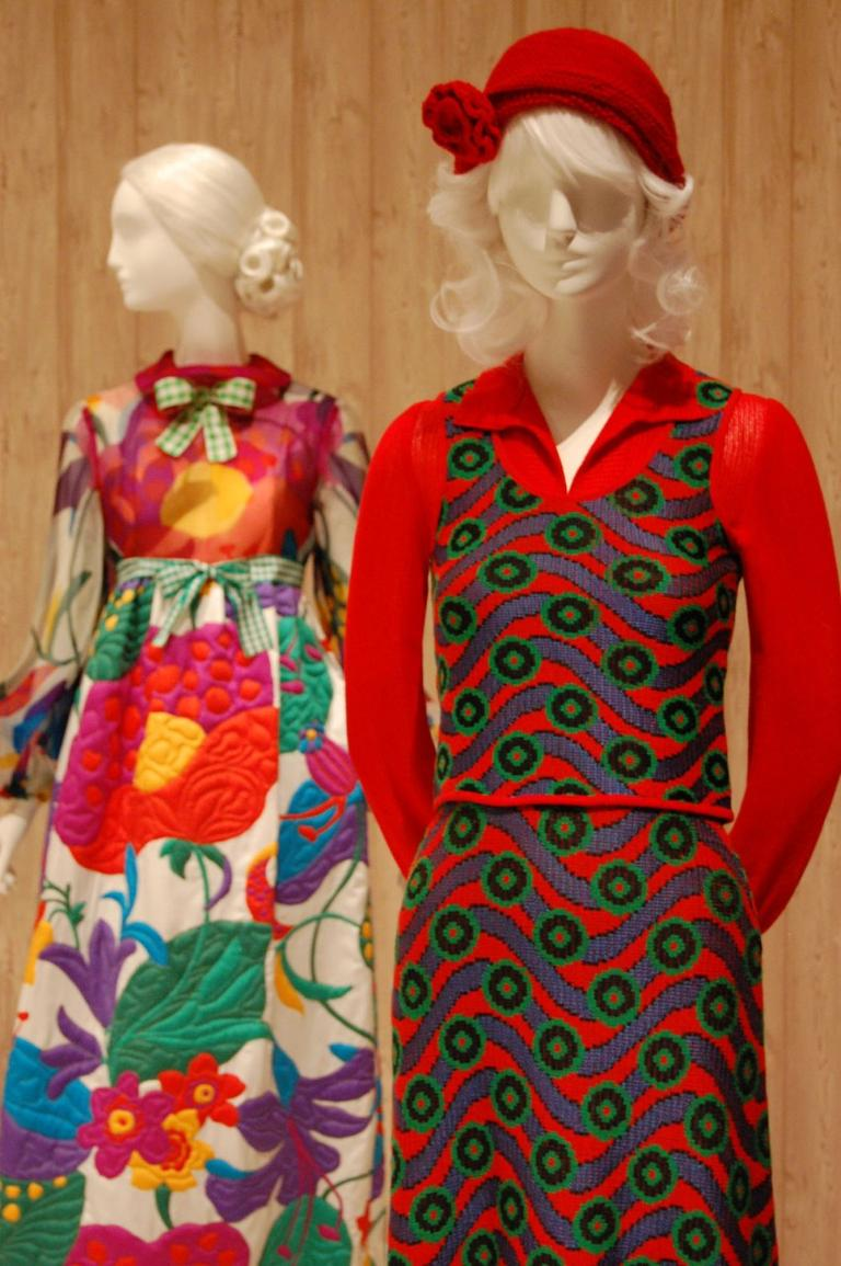 A psychedelic pattern of waves and dots electrifies Ottavio and Rosita Missoni's machine-knit 1972 women's ensemble (foreground). Like Geoffrey Beene's 1972 quilted silk dress (background), it's an example of how high fashion reinterpreted homespun hippie crafts. (Greg Cook)