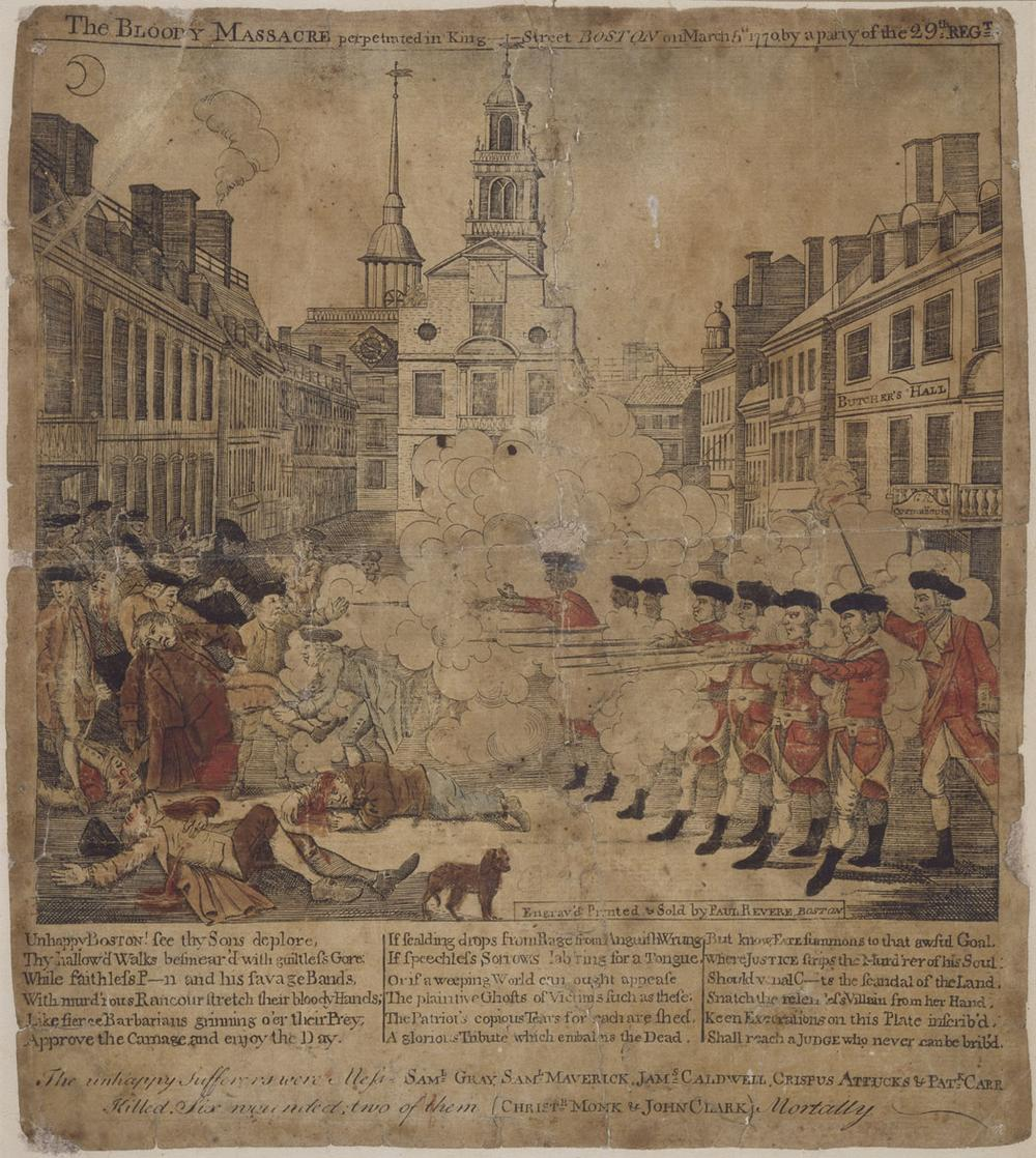 "Paul Revere's 1770 engraving ""The Boston Massacre."" (© Museum of Fine Arts, Boston)"