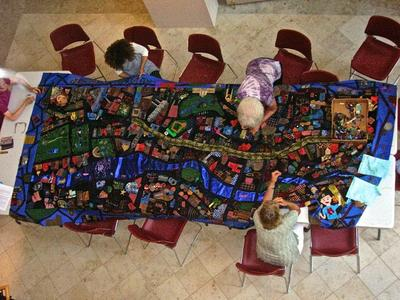 "Working on the ""Mending Boston"" quilt. (Courtesy photo)"