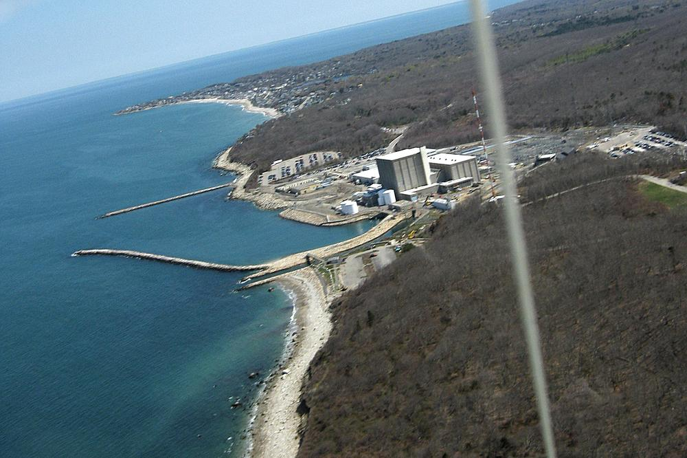 Aerial photo of the Pilgrim Nuclear Power Plant in Plymouth, Mass., taken from a kite by activists. (Courtesy Cape Cod Bay Watch)