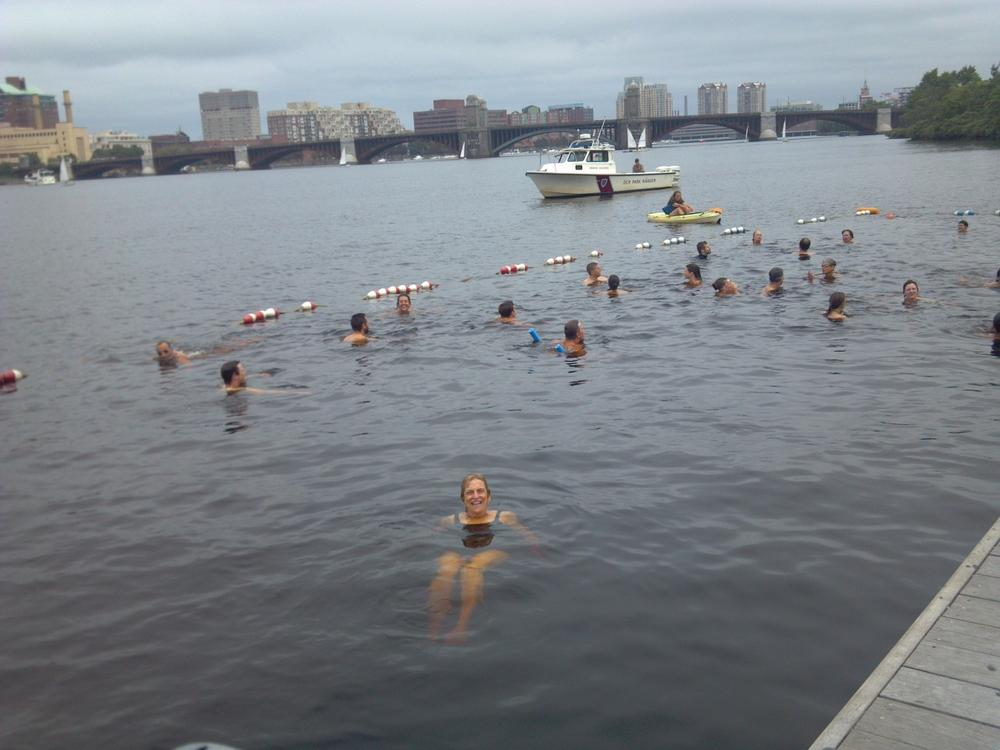 The author happily treads water in the Charles. (Courtesy)