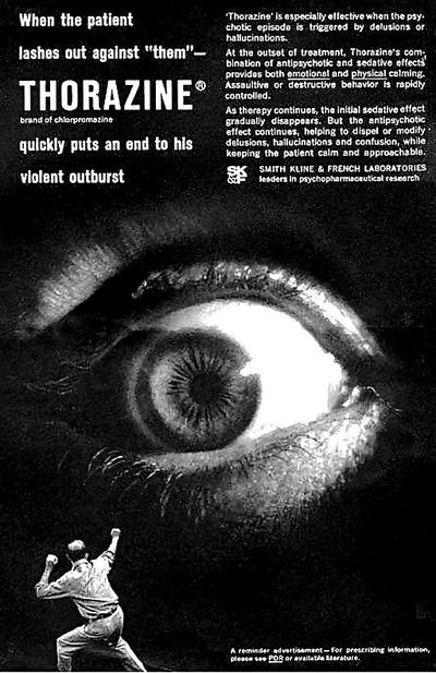 A 1960s ad for the anti-psychotic drug Thorazine (Wikimedia Commons)