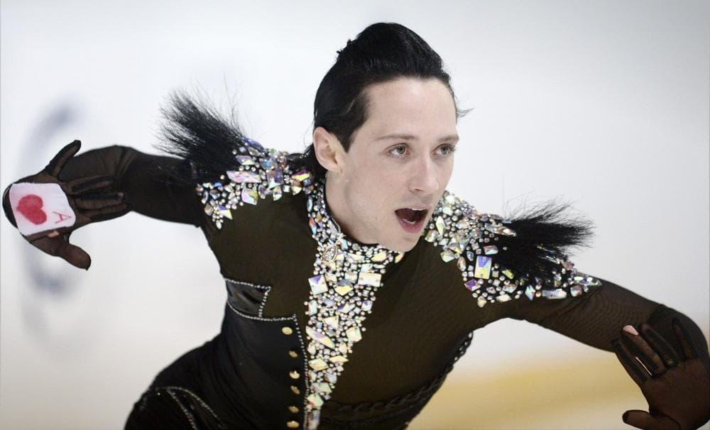 Johnny Weir of USA skates at the 2012 Finlandia Trophy Espoo International figure skating competition. (Antti Aimo-Koivisto/LEHTIKUVA via AP)