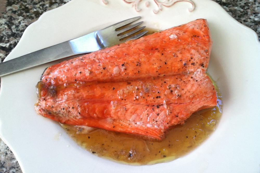 """""""Grilled Salmon with Maple Glaze and Sea Salt."""" (Kathy Gunst/Here & Now)"""
