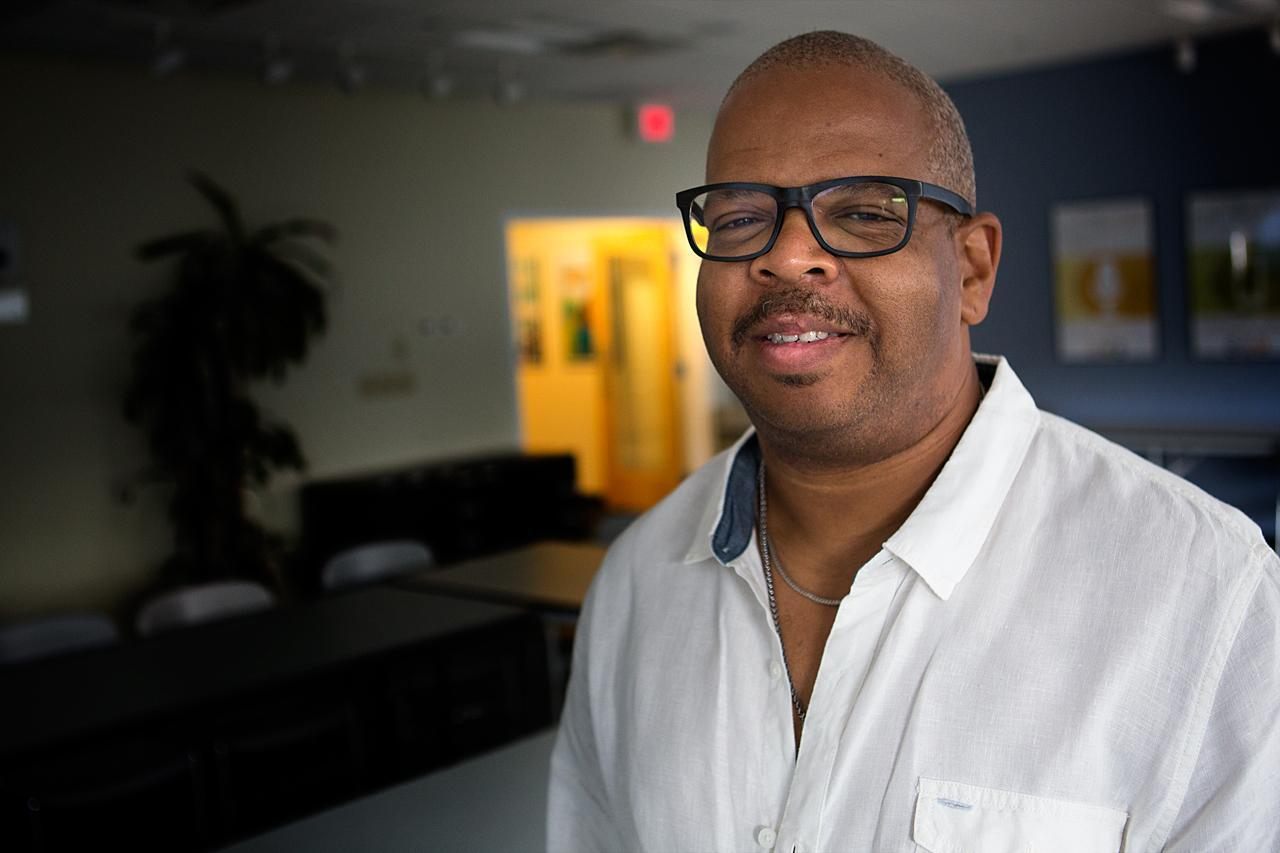 Jazz musician Terence Blanchard at WBUR on Friday, August 2, 2013. (Jesse Costa/WBUR)
