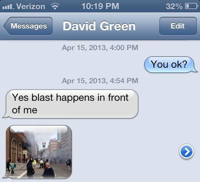 A screen shot of the text message conversation Adam Scully-Power had with his friend David Green shortly after the bombs went off at the Boston Marathon finish line. (Courtesy Adam Scully-Power)