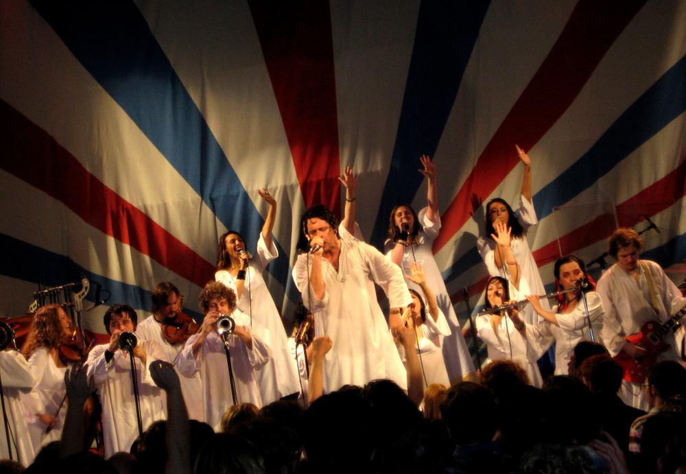 """The Polyphonic Spree, a band based in Dallas, Texas, is on tour with the new album, """"Yes, It's True."""" (Paul Kim/Flickr)"""