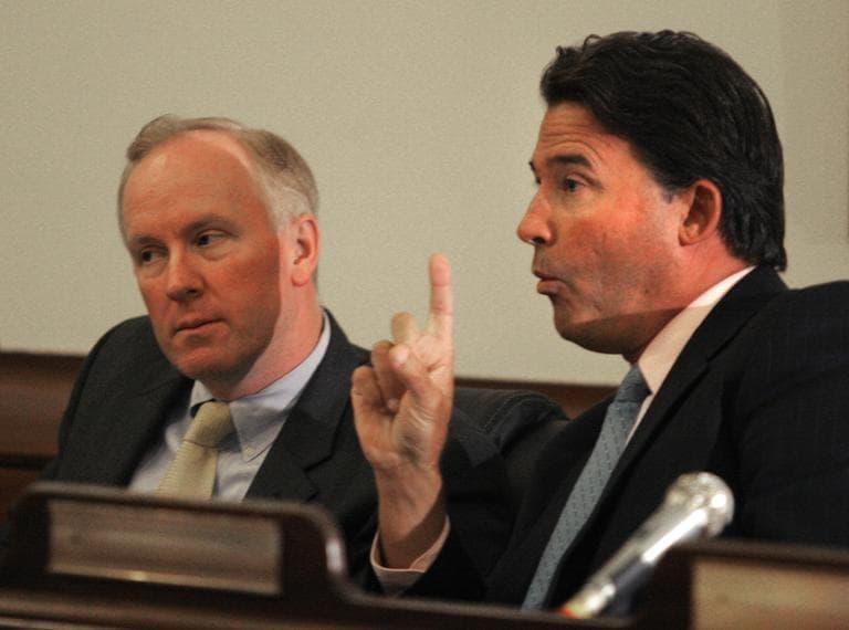 Sen. Michael Knapik, left, listened as Sen. Mark Montigny, right, speaks at the State House in 2007. (Kevin Martin/AP)