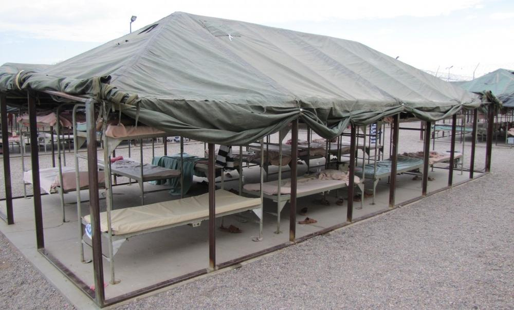 One of the units at the Phoenix, Arizona, outdoor detention center known as Tent City. Temperatures in the bunks can reach 130 degrees in the summer (Jude Joffe-Block/Fronteras Desk)