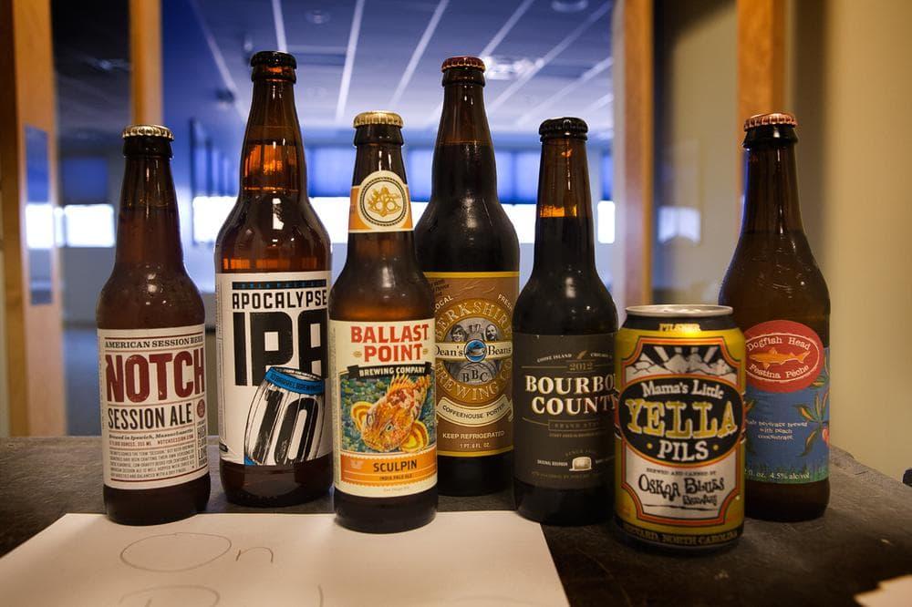 Our beer samples. (Jesse Costa/WBUR)