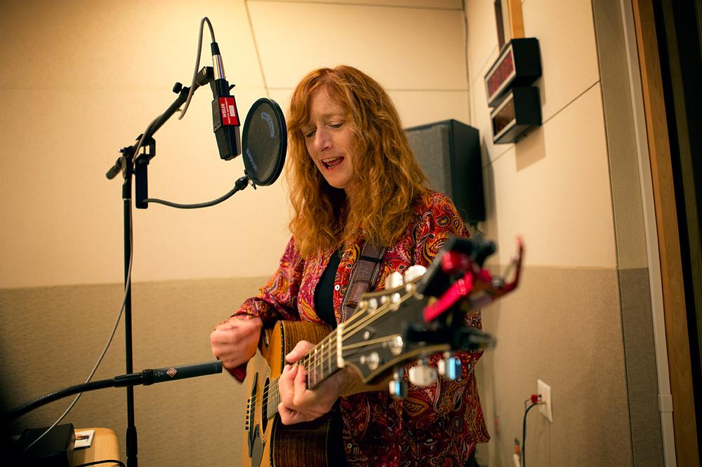 Patty Larkin in the Radio Boston studio. (Jesse Costa/WBUR)