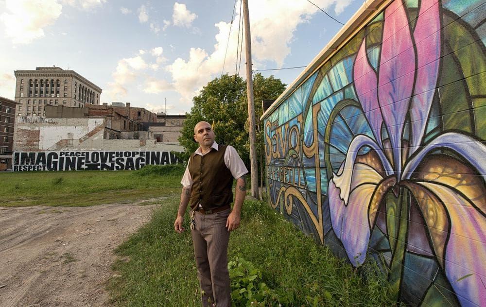 Artist Eric Schantz is pictured in Saginaw, Michigan. (Doug Coombe/Michigan Radio)