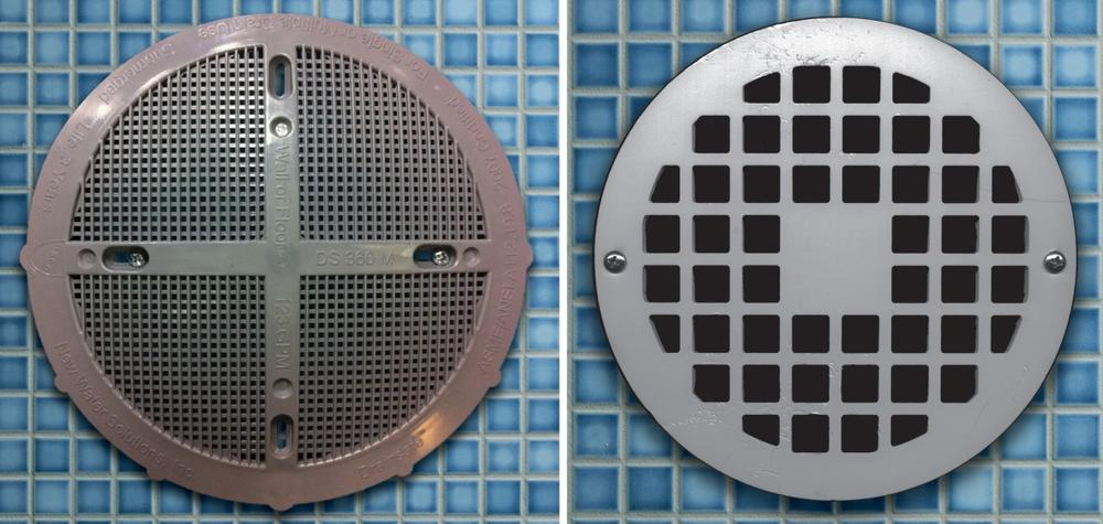 A safe drain cover, left, and a dangerous drain cover, right, according to Abbey's Hope Charitable Foundation. (Abbey's Hope)
