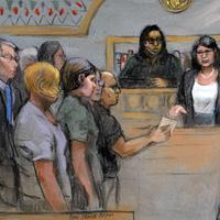 """In this courtroom sketch, James """"Whitey"""" Bulger, second from right, stands with defense attorneys Hank Brennan, third from right, and J.W. Carney, right, as the jury submits its verdicts before Magistrate Judge Marianne Bowler Monday, Aug. 12, 2013 in federal court in Boston. Bulger was found guilty on several counts of murder, racketeering and conspiracy. (Jane Flavell Collins/AP)"""