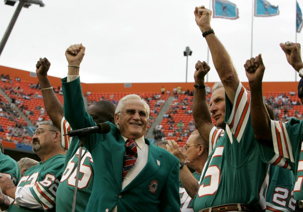 Head coach Don Shula and members of the 1972 Dolphins have returned to Sun Life Stadium in Miami to celebrate their perfect season, but now they are heading to the White House. (Lynne Sladky/AP)