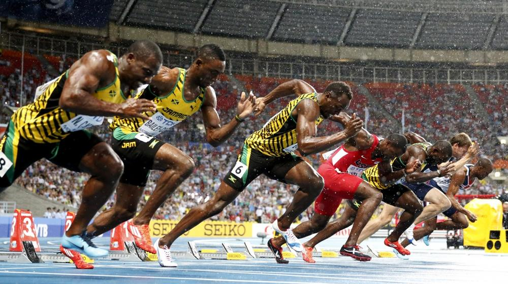 From right, Britain's James Dasaolu, France's Christope Lemaitre. Jamaica's Nickel Ashmeade, USA's Justin Gatlin, Jamaica's Usain Bolt, Jamaica's Kemar Bailey-Cole and Jamaica's Nesta Carter start in the Men's 100-meter final at the World Athletics Championships in the Luzhniki stadium in Moscow, Russia, Sunday, Aug. 11, 2013. (Matt Dunham/AP)