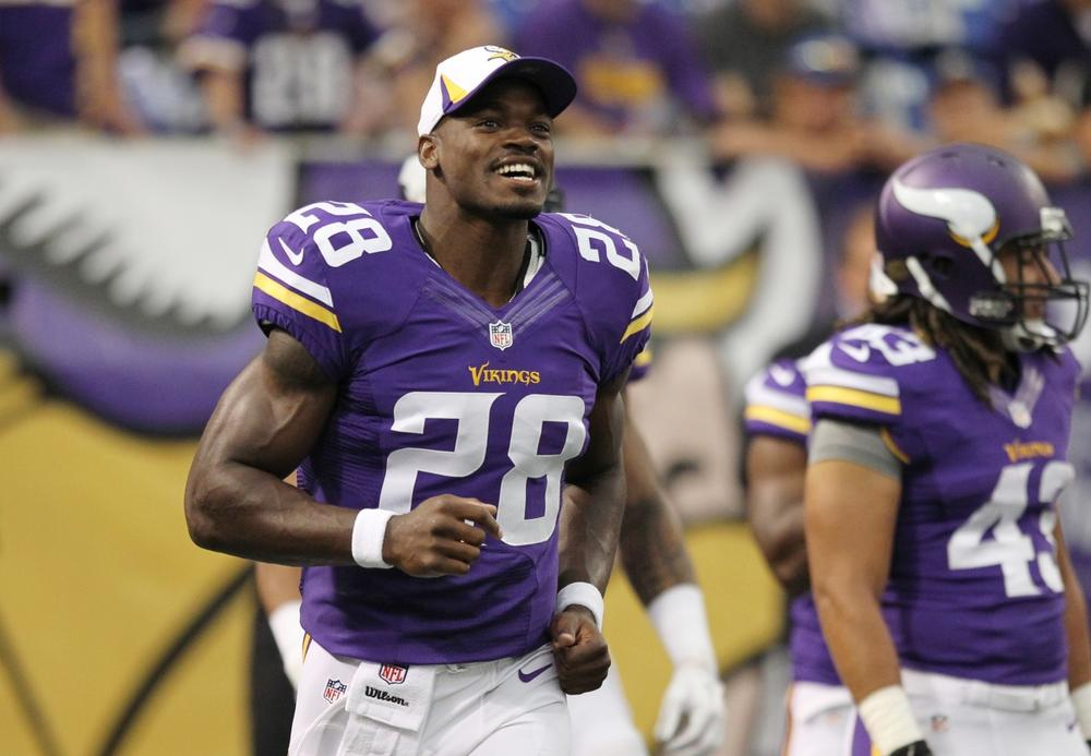 Minnesota Vikings running back Adrian Peterson is far from offended by accusations that he used PEDs. (Genevieve Ross/AP)