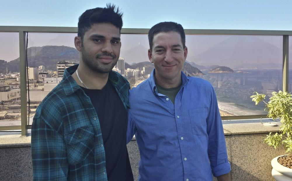 Journalist Glenn Greenwald, right, is pictured with his partner David Miranda. (Janine Gibson/The Guardian)